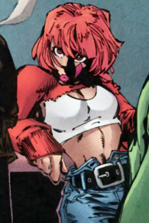 Copycat (DV8) (Wildstorm Comics) with a white top and jeans