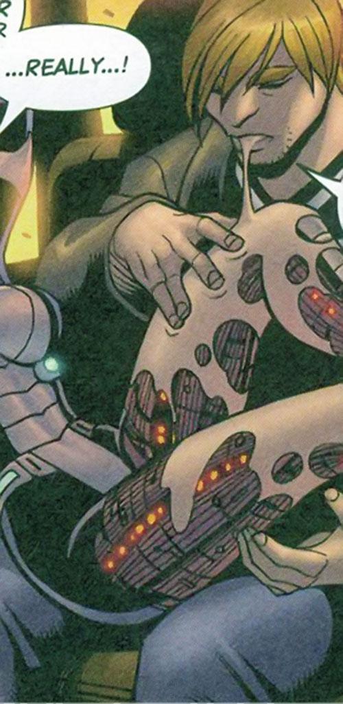 Cornfed of the Livewires (Marvel Comics) regurgitating Smartware