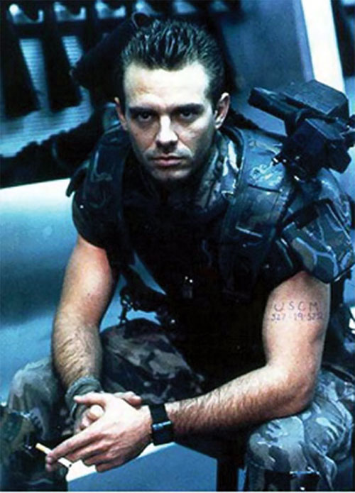 Corporal Hicks (Michael Biehns in Aliens) having a smoke