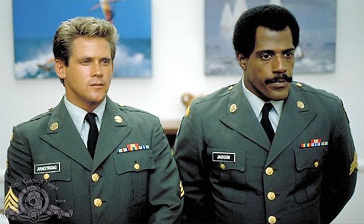 Corporal Jackson (Steve James) and Joe Armstrong in dress uniform