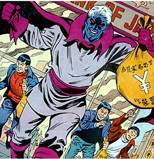 Corruptor (Nova enemy) (Marvel Comics) robbing a Japanese bank