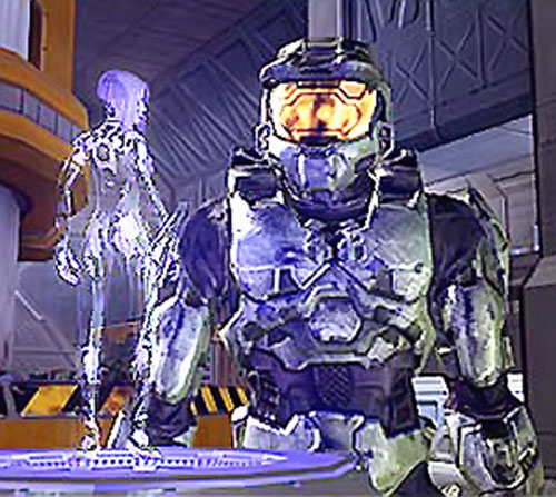 Cortana (Halo video games AI) discussing with the Master Chief