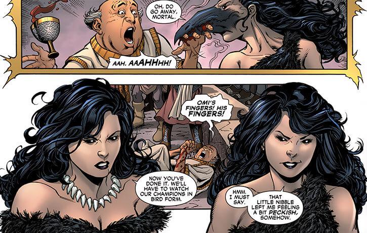 Corvidae (Wonder Woman vs Conan comics) morphing face beak