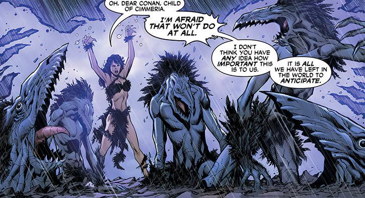 Corvidae (Wonder Woman vs Conan comics) summoning crow monsters