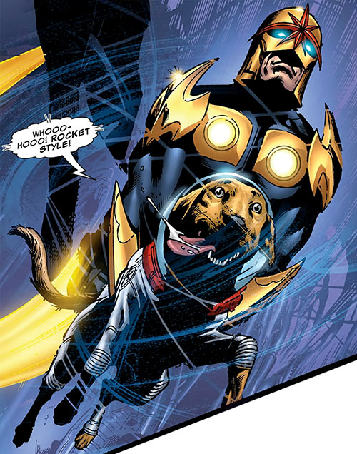 Cosmo of the Guardians of the Galaxy (Marvel Comics) with Nova