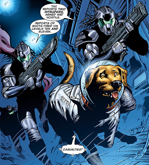 Cosmo (Marvel Comics) with two Knowhere guards
