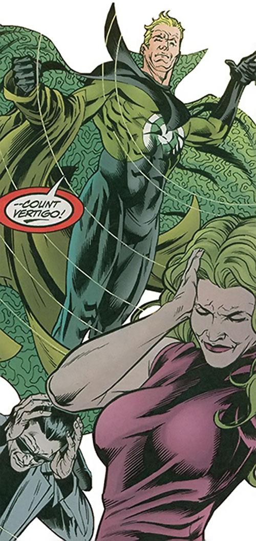 Count Vertigo (Suicide Squad member) (DC Comics) levitating, and Fire