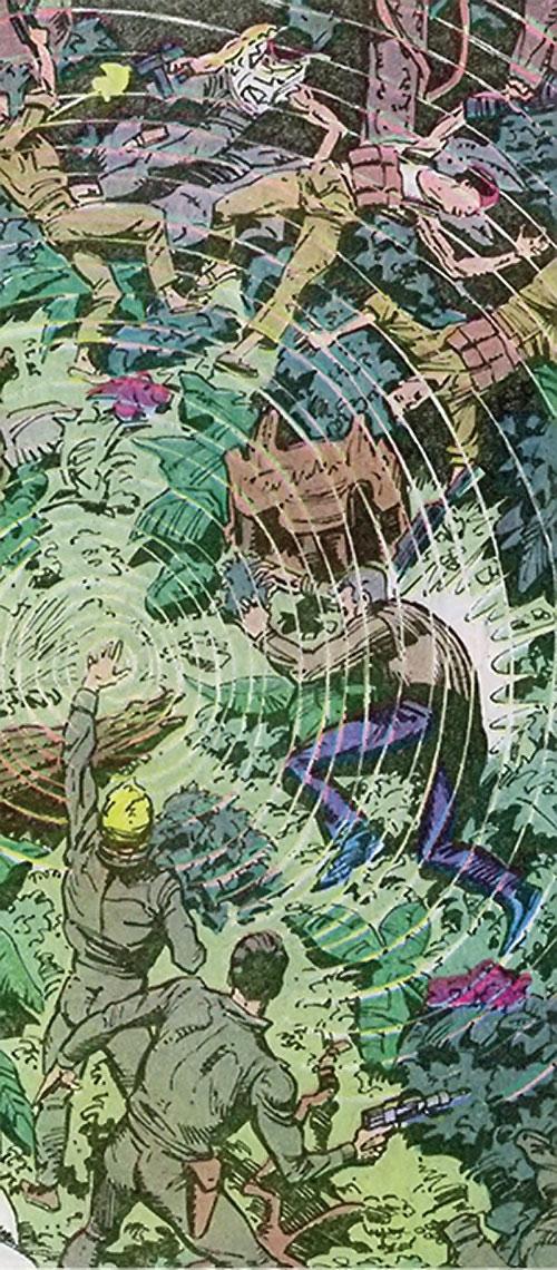 Count Vertigo (Suicide Squad member) (DC Comics) vs. Viet Cong soldiers in the jungle