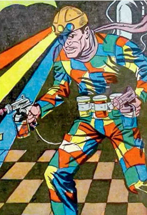 Crazy Quilt with his color helmet and paint guns