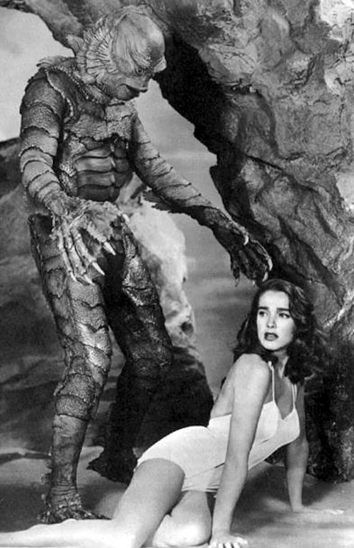 The Creature from the Black Lagoon and a starlet