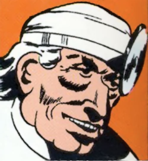 Crime Doctor (Batman enemy) (DC Comics Golden Age) face closeup with reflector