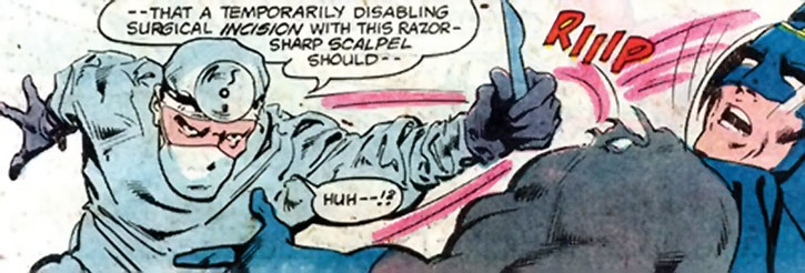 The Crime Doctor slashes Batman with a scalpel