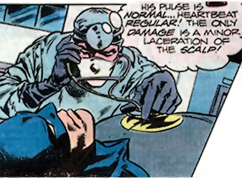 Crime Doctor (Batman enemy) (DC Comics) (Earth-1 pre-Crisis) and an unconscious Batman