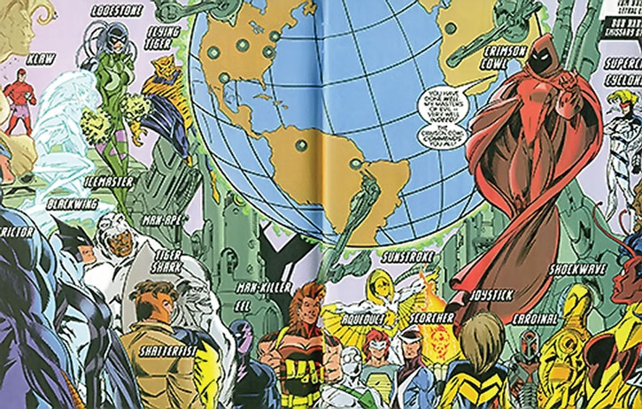 Crimson Cowl and her army of super-villains