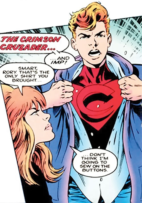 Crimson Crusader of Clan Destine (Marvel Comics) tearing his shirt open