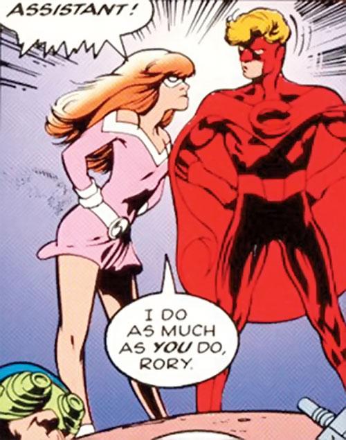 Crimson Crusader and Imp of Clan Destine (Marvel Comics) arguing