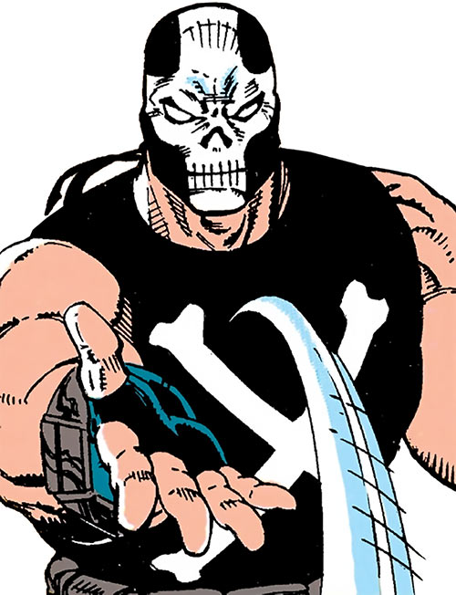 Crossbones (Marvel Comics) (Captain America enemy) throws an object