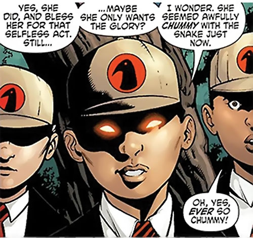Crow Children of Ares (Wonder Woman enemies) (DC Comics) with eyes glowing