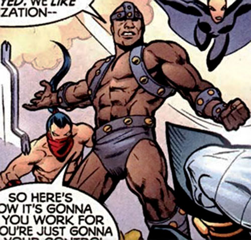 Crowbar of the Cadre (JLA enemy) (DC Comics) as his weapon flies back to his hand