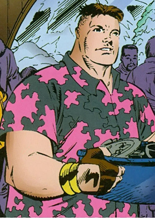 Cruiser (Sovereign 7) (DC Comics) in a Hawaiian shirt with dishes
