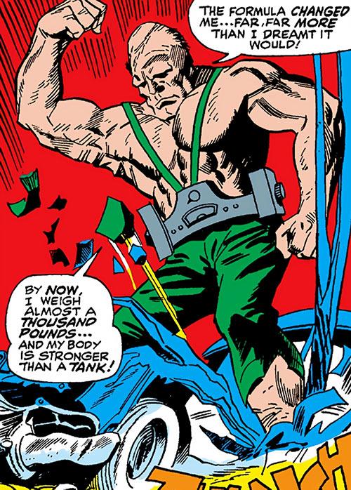 Crusher (Rozza) (Iron Man enemy) (Marvel Comics) stomps a car flat