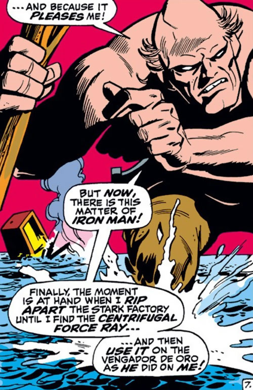 Crusher (Rozza) (Iron Man enemy) (Marvel Comics) knee deep in the sea