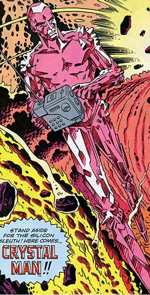 Crystal Man (Alan Moore 1963 comics) exploring a volcano splash page