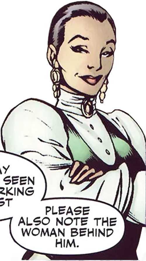 Cuckoo of Clan Destine (Marvel Comics) in a puffy white top