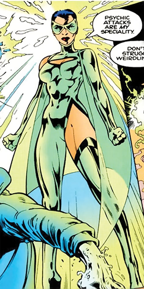 Cuckoo of Clan Destine (Marvel Comics) glowing with mental energy