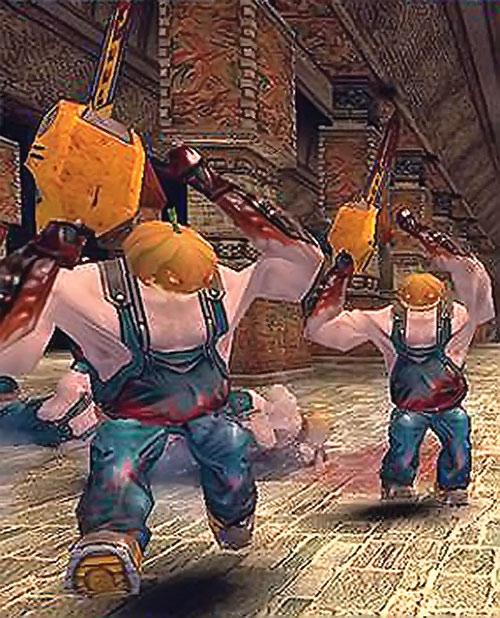 2 cucurbito thugs (Serious Sam video game) attacking