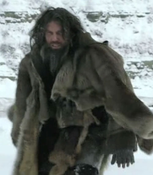 Cullen Bohannon (Anson Mount in Hell on Wheels) with beard and furs