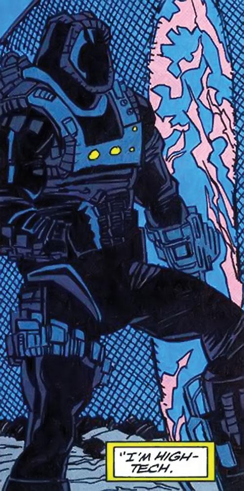 High-Tech (Deathlok ally) (Marvel Comics) (Curtis Carr) cutting through a fence