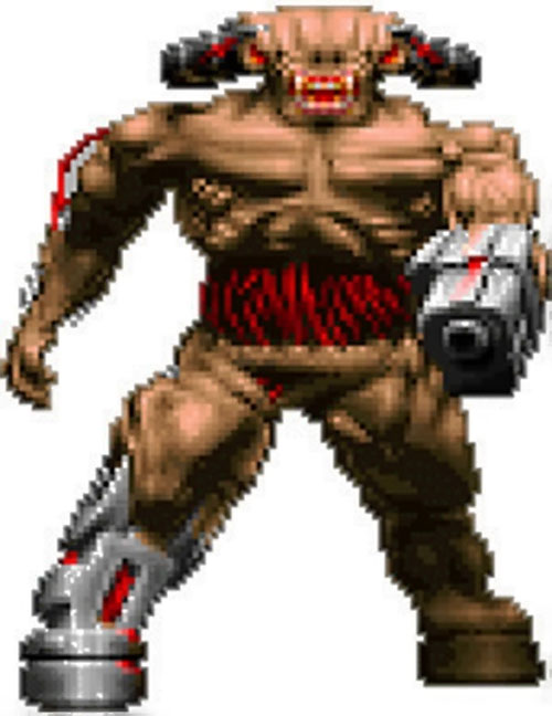 Cyberdemon in the Doom video game, pointing his launcher