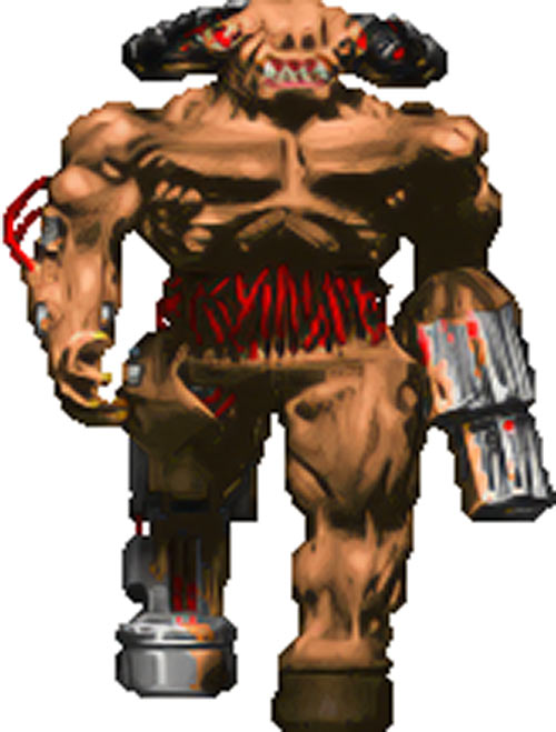 Cyberdemon in vintage Doom games - Sprite upscale by Hidfan