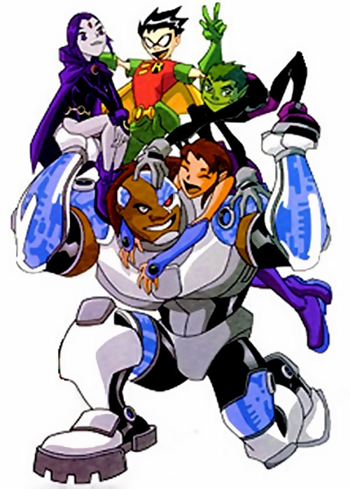 Cyborg of the Teen Titans (animated version) carrying the team
