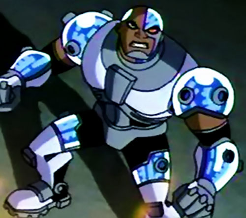 Cyborg of the Teen Titans (animated version) high angle shot