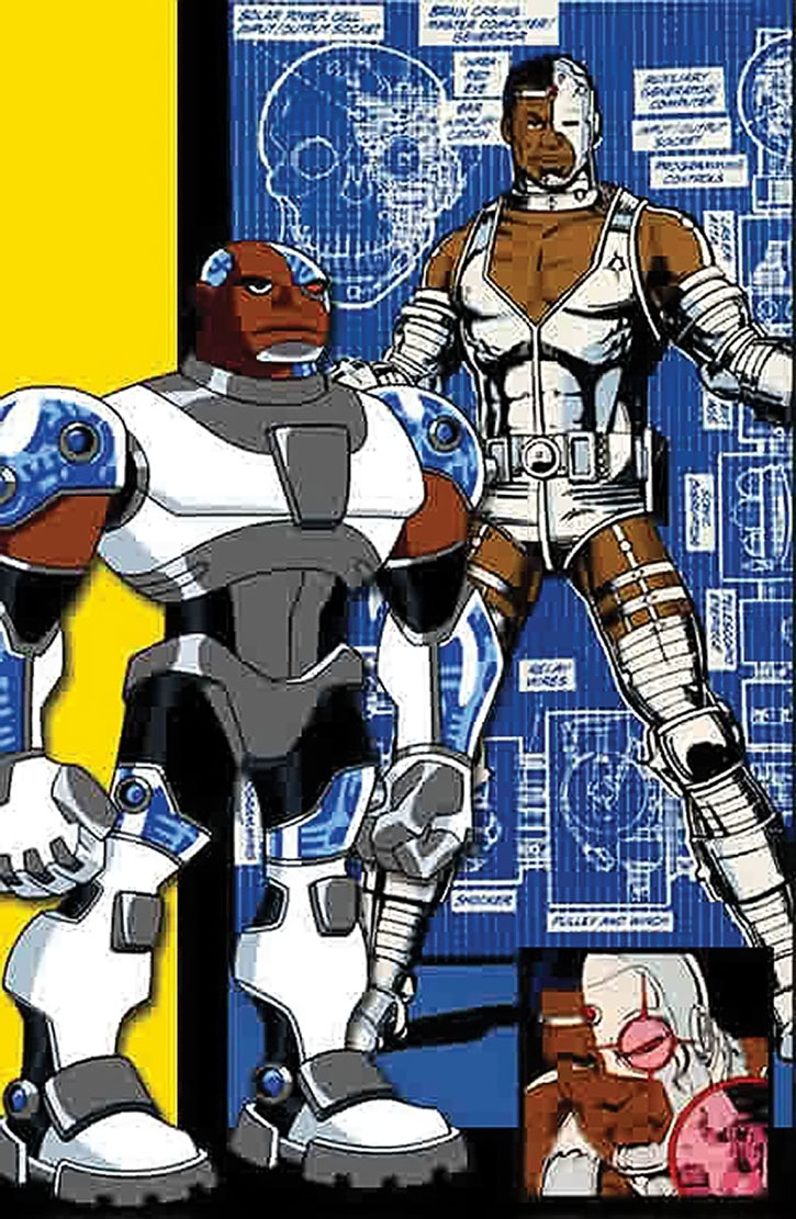 Animated and comic book versions of Cyborg (Vic Stone)
