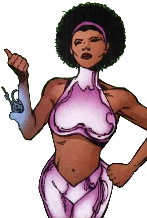 Cyborgirl of Villainy Inc. (Wonder Woman enemy) (DC Comics) retracting a gun into her forearm