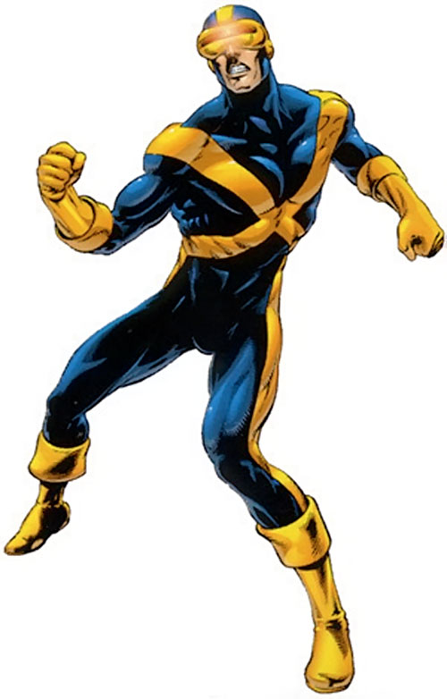 Cyclops of the X-Men - dark blue costume with gold pectoral X