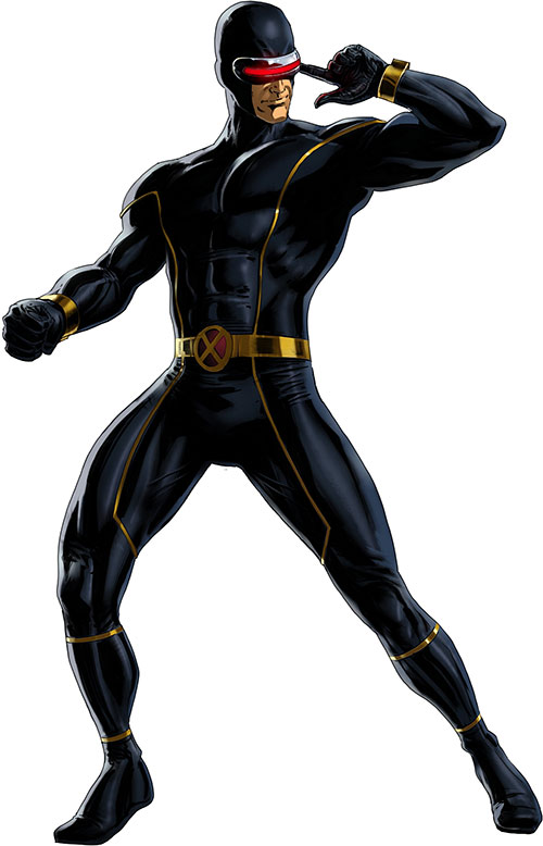Cyclops of the X-Men - very dark blue costume with yellow piping