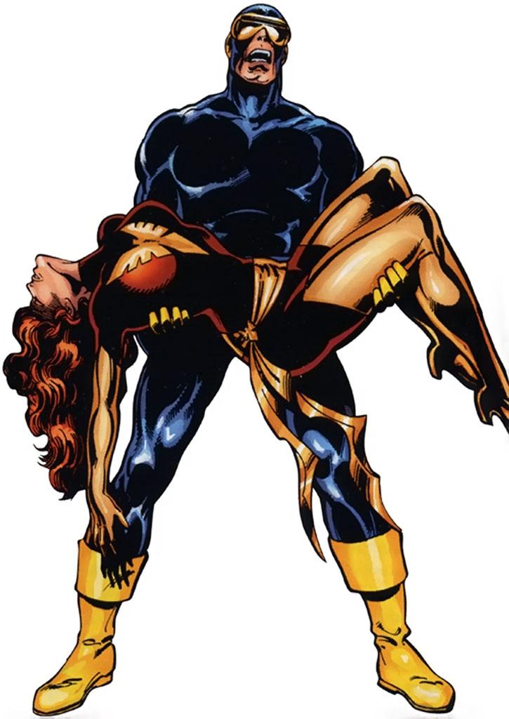 Cyclops (Scott Summers) holding a dead Phoenix (Jean Grey)