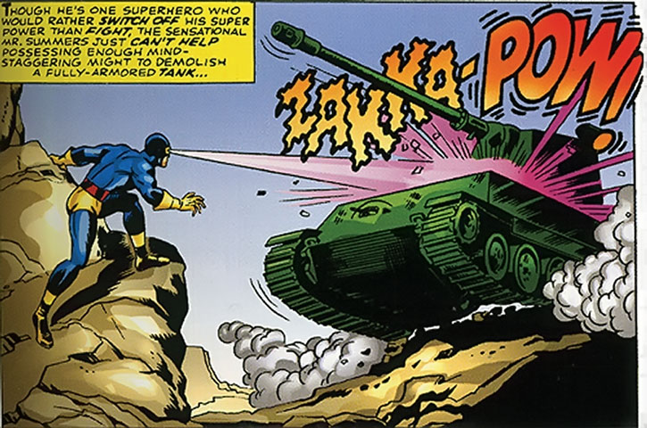 Classic Cyclops shooting a tank