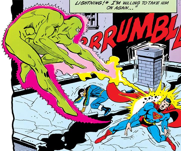 The Cyclotronic Man vs. Black Lightning and Superman
