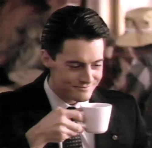 Dale Cooper (Kyle MacLachlan in Twin Peaks) drinking coffee