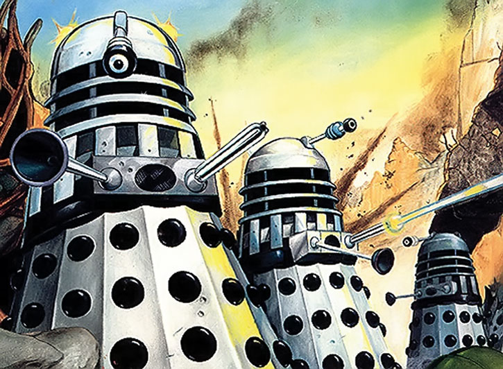 A drawing of shooting Daleks