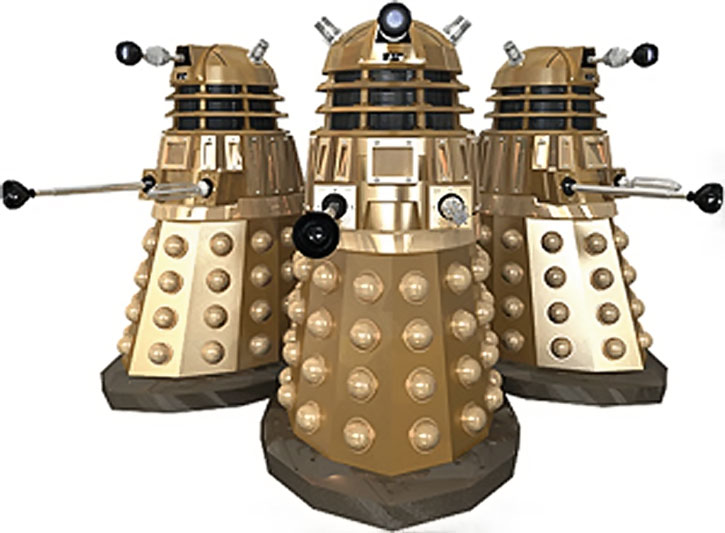 Three Daleks over a white background