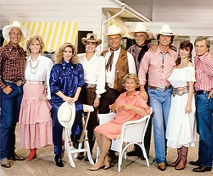 Another view of the main cast of the Dallas TV series