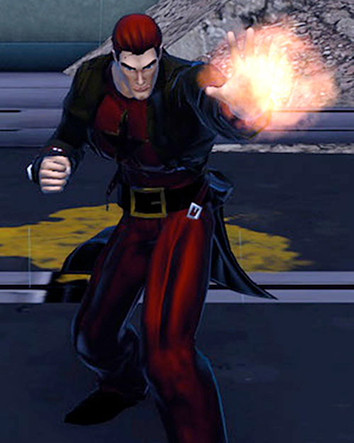 Damion Hellblaze (DC Heroes RPG) about to shoot fire