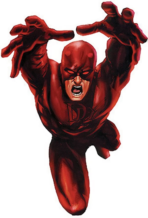 Daredevil (Marvel Comics) leaping in