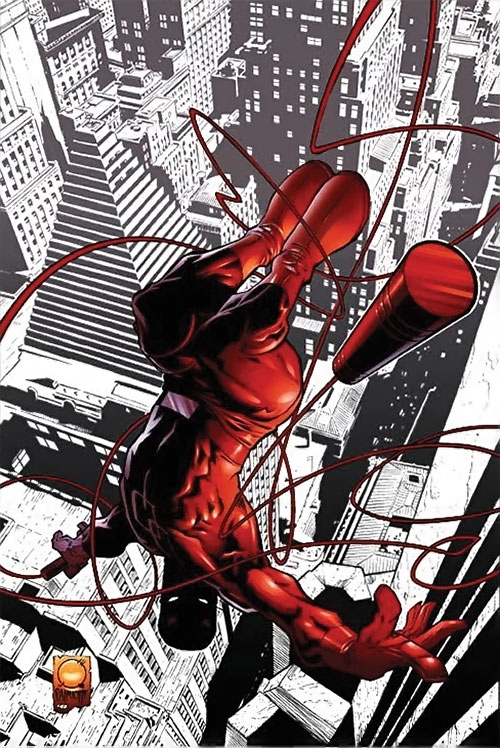 Daredevil (Marvel Comics) above the Bankers Trust Building